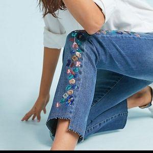 Pilcro slim straight embellished raw hem jeans